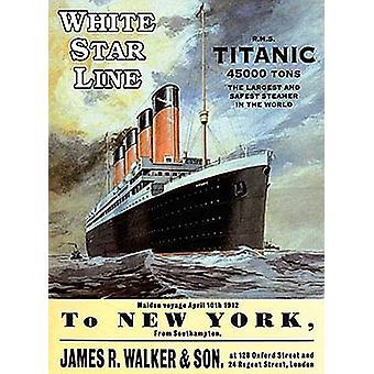 White Star Line Titanic grand acier signer 400 X 300 Mm