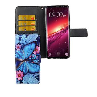 Mobile phone case pouch for mobile Samsung Galaxy S9 blue butterfly