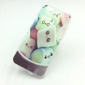 Handy Hülle für Apple iPhone 6 / 6s Marshmallows Tasche Case + 1x Panzer Schutz Glas Neu