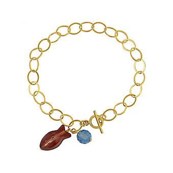 Red - 3 cm ladies - bracelet - gold plated - fish-