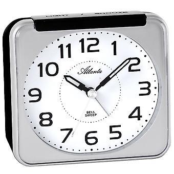 目覚まし時計アナログ光スヌーズでカチカチ音をたてることがなく静かにクォーツシルバー