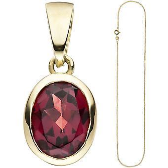 Pendant-oval 333 Gold Yellow Gold 1 Garnet necklace 50 cm Garnet pendant
