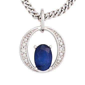 Sapphire zawieszka 585 złota białego złota z 1 Safir niebieski 2 diamenty genialny 0, 01 ct.