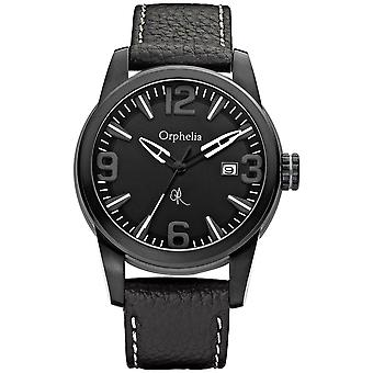 ORPHELIA analogico Mens Watch est fine pelle nera 132-6711-44