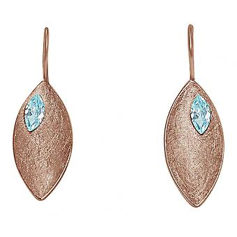 Ladies earrings 925 Silver rose gold plated MARQUISE Blue Topaz 3 cm
