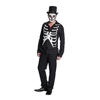 Chaleco esquelética costillas chaleco chaleco de traje esqueleto de Halloween para hombres