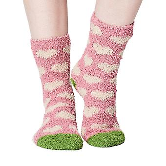 Heart women's soft fluffy sofa and bed socks in pale pink | By Thought