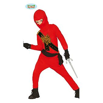 Ninja costume for kids black red with Dragon-print shadow fighter child costume