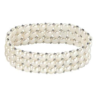 Elements Silver Freshwater Pearl Three Strand Small Stretch Bracelet - Silver/White