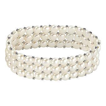 Delar Silver sötvatten pärla tre Strand små Stretch Armband - Silver/vit