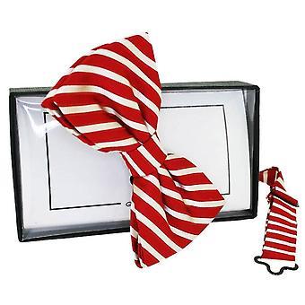 David Van Hagen rayas pajarita seda - rojo/blanco