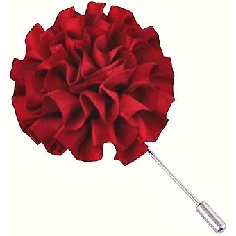 Bassin and Brown Flower Lapel Pin - Wine Red