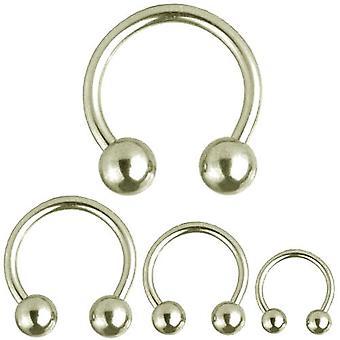 Cirkulär Barbell hästsko Piercing, piercingsmycken, tjocklek 1,2 mm | Diameter 6-12 mm