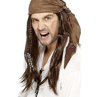 Smiffy's Long Braided Wig, Buccaneer Pirate Wig, Bandana With Beads