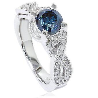 1 1/2ct Blue Diamond Vintage Infinity Engagement Ring 14K White Gold