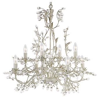 Searchlight 2498-8CR Almandite 8 Light Cream & Gold Chandelier