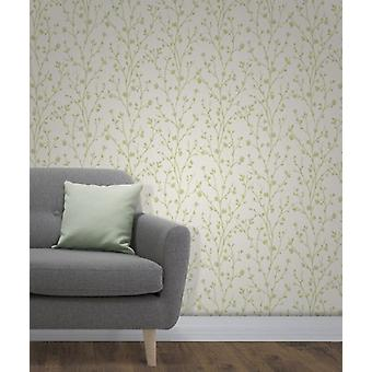 Elegant Twiggy Sidewall Green Wallpaper Wall Decoration 0.52m x 10.05m