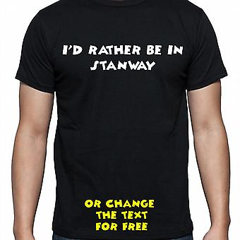 I'd Rather Be In Stanway Black Hand Printed T shirt