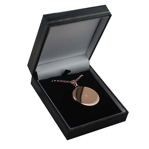 9ct Rose Gold 29mm half hand engraved flat round Locket with a belcher chain