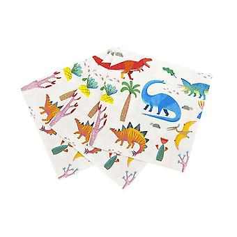 Square Dinosaur Party Paper Napkins x 20 - Childrens party
