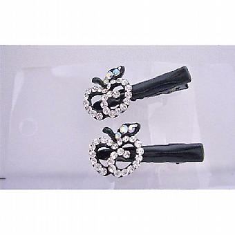 Simulated Diamond Apple Pair Hair Clamps Clip Sleek & Sparkling Clamps