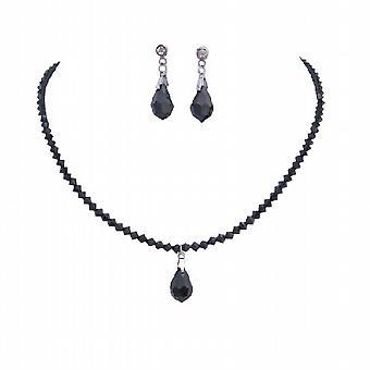 Handgjorda Jet kristaller med droppformade Halsband Örhängen hustru gåva