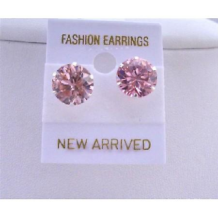 Cubic Zircon Pink Stud Earrings 10mm Cz Sterling Silver Stud Earrings