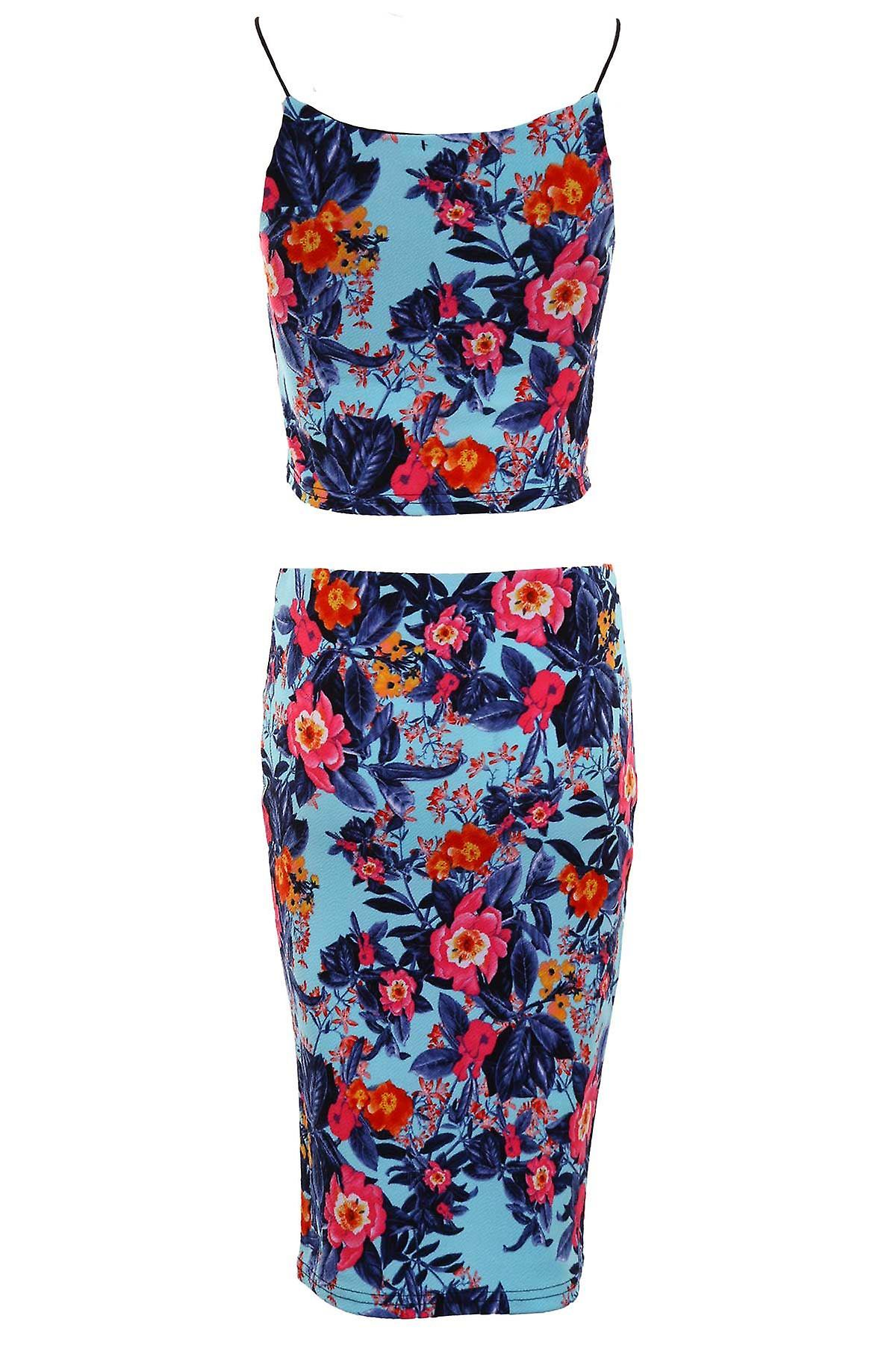 Ladies Floral Aztec Print Summer Casual Bodycon Crop Top Skirt Set Two Piece