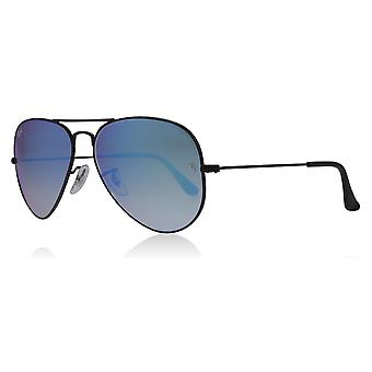 Ray-Ban RB3025 002/4O Shiny Black RB3025 Aviator Sunglasses Lens Category 3 Lens Mirrored Size 62mm