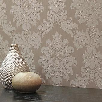 Taupe Damask Wallpaper Textured Metallic Heavyweight Vinyl Luxury Messina
