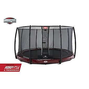 BERG InGround Elite 430 14ft Trampoline + Safety Net Deluxe Red
