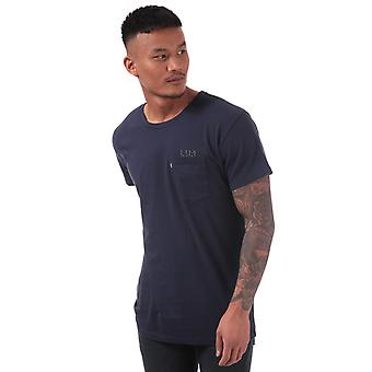 Mens Levis Line 8 Longline T-Shirt In Navy- Short Sleeve- Ribbed Collar- Crew