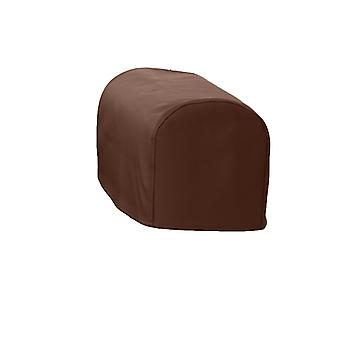 Changing Sofas® Large Size Brown Faux Leather Pair of Arm Caps for Sofa Armchair