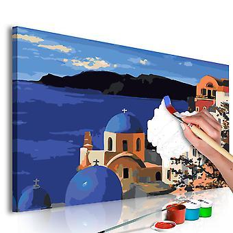 DIY lærred maleri-Santorini