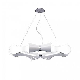Mantra Ora Pendant 8 Flat Round Light E27, Gloss White Acrylic/Polished Chrome