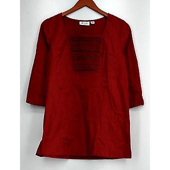 Denim & Co. 3/4 mouw stretch twill tuniek w/borduurwerk echte rode A216275