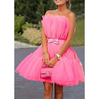 Plisado tula sin tirantemini vestido rosa caliente
