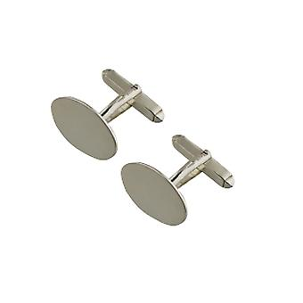 9ct White Gold 19x11mm plain oval swivel Cufflinks