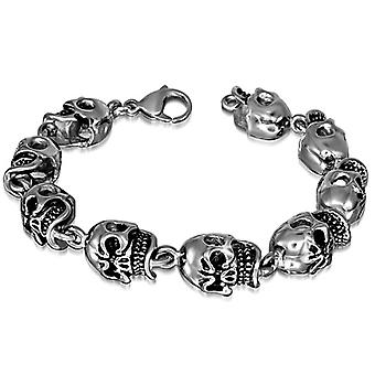 Urban Male High Quality Stainless Steel Men's Nine Link Skull Bracelet
