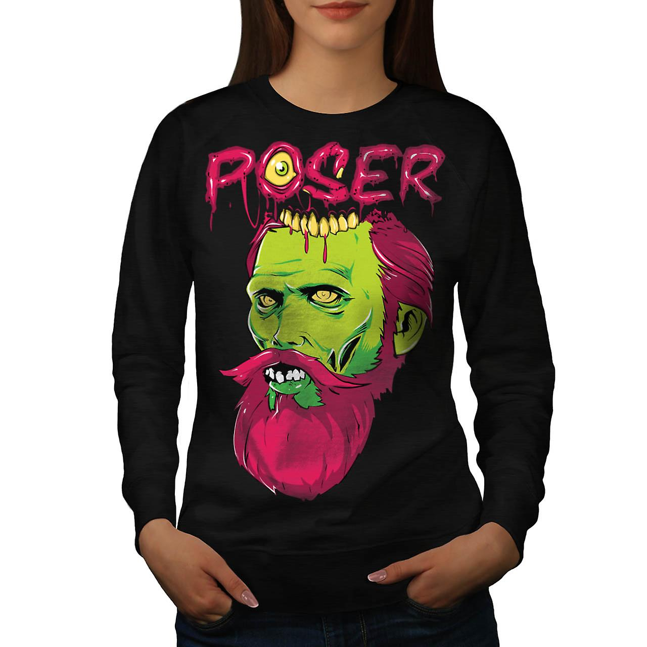 Poser Zombie Undead Dead Beard Women Black Sweatshirt | Wellcoda
