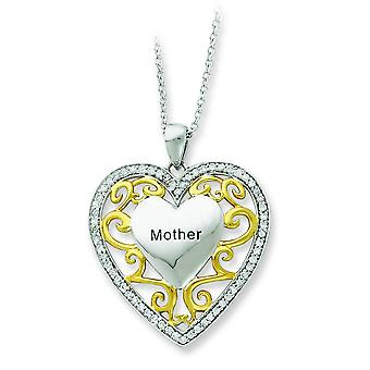 Polished Gift Boxed Spring Ring Rhodium-plated Antique finish Silver Antiqued Accent gold plating Heart Necklace - 18 In