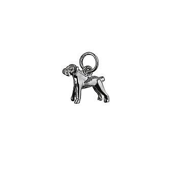 Silver 11x14mm Boxer Dog Pendant or Charm