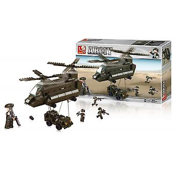 Sluban Building Blocks Army Serie Transport Helicopter