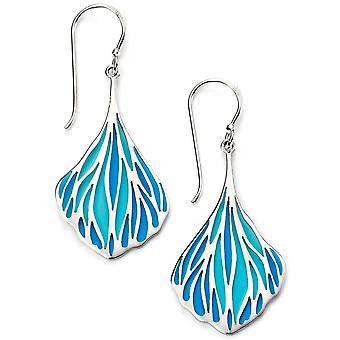 925 Silver Blue Enamel Earring