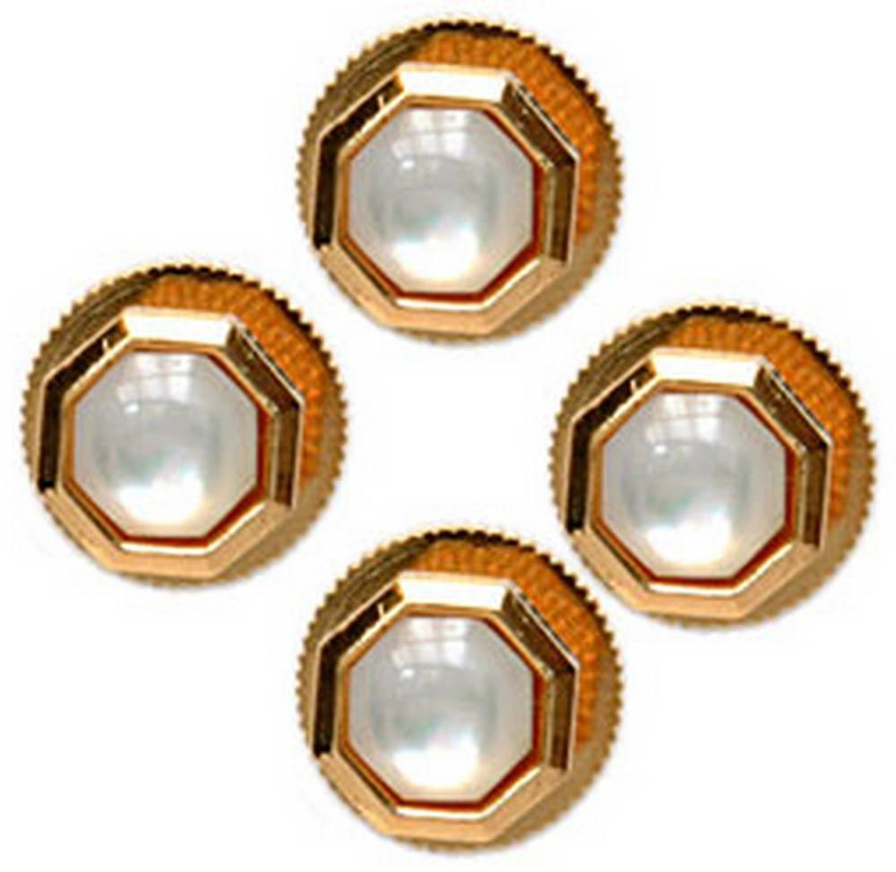David Van Hagen Mother of Pearl Octagonal Dress Studs - Gold/White