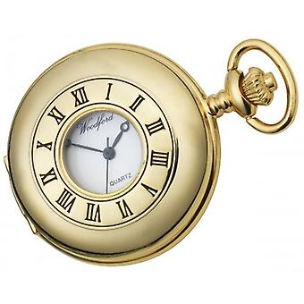 Woodford Gold Plated Polished Half Hunter Quartz Pocket Watch - Gold