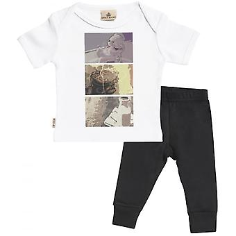 Spoilt Rotten Baby Squares Print Baby T-Shirt & Baby Jersey Trousers Outfit Set