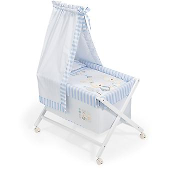 Interbaby Nogal minicuna canopied Model Bunny Baby Blue