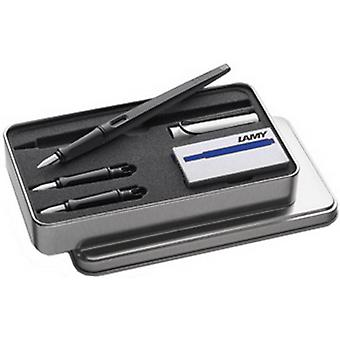 Lamy Joy 3 Nib Blue Ink Fountain Pen Set - Matte Black