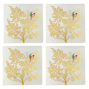 Sara Miller Chelsea Gold Leaf Square Placemats, Set of 4